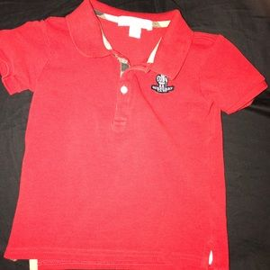 Kids Burberry polo size 2T red